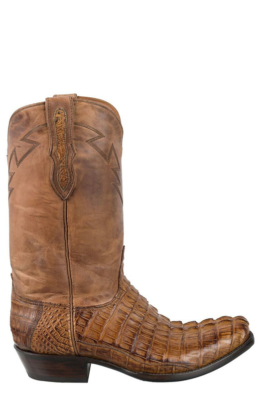 Black Jack for Pinto Ranch Men's Burnished Cognac Caiman Tail Boots - Side