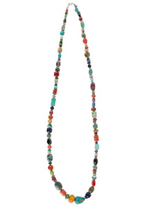 Turquoise Moon Long Multi Stone Necklace - Full-shot
