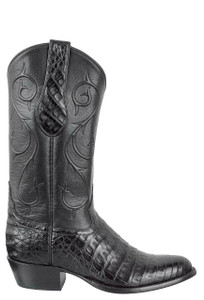Tony Lama Signature Series Men's Black Caiman Belly Boots - Side
