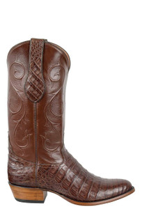 Tony Lama Signature Series Men's Chocolate Caiman Belly Boots  - Side