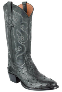 Tony Lama Signature Series Men's Black Full-Quill Ostrich Boots