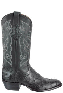 Tony Lama Signature Series Men's Black Full-Quill Ostrich Boots - Side