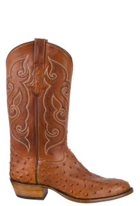 Tony Lama Signature Series Men's Cognac Full-Quill Ostrich Boots - Side