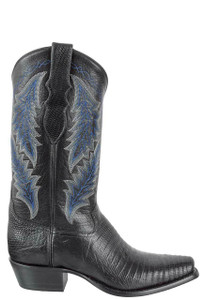 Tony Lama Signature Series Men's Black Teju Lizard Boots - Side