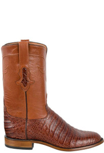 Tony Lama Signature Series Men's Cognac Caiman Belly Roper Boots - Side