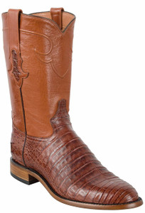 Tony Lama Signature Series Men's Cognac Caiman Belly Roper Boots