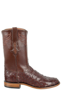 Tony Lama Signature Series Men's Kango Tobacco Full-Quill Ostrich Roper Boots - Side