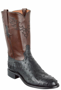 Tony Lama Signature Series Men's Black Full-Quill Ostrich Roper Boots