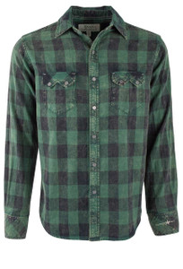 Ryan Michael Ranger Green Distressed Check Plaid - Front