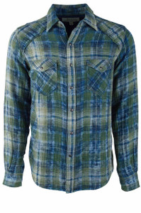 Ryan Michael Indigo and Green Sequoia Double Face Plaid - Front