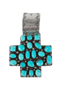 Rocki Gorman Blue Turquoise Cross Path Pendant - Front