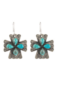 Rocki Gorman Turquoise Cross Earrings