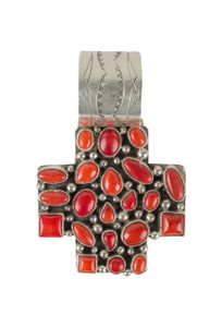 Rocki Gorman Red Coral Cross Path Pendant - Front