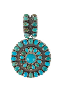 Rocki Gorman Blue and Green Turquoise Circle of Life Pendant - Front