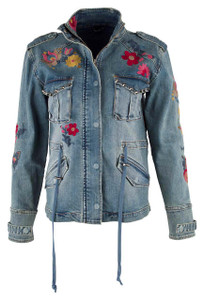 Billy T Floral Embroidered Denim Jacket - Front