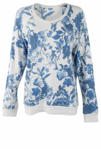 Pajamas - Blue Flower Top - Front