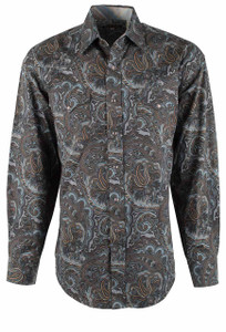 Stetson Brown Sand Painting Paisley Snap Shirt - Front