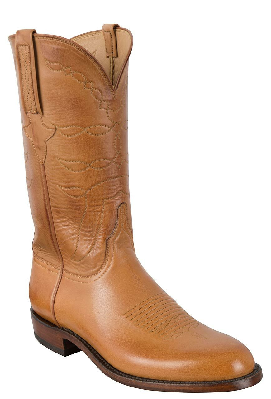LUCCHESE MEN'S SAND BURNISHED BABY BUFFALO ROPER BOOTS