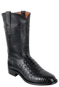 Tony Lama Signature Series Men's Black Caiman Belly Roper Boots