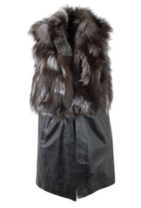Mitchie's Matchings Silver and Black Fox and Leather Vest - Front