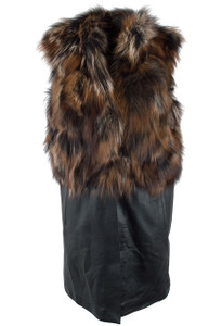Mitchie's Matchings Silver and Brown Fox and Leather Vest - Front