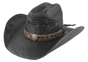 Bullhide Corral Dust Straw Hat - Black - Side