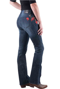 Grace in L.A. Easy Fit Red Floral Bootcut Jeans