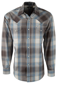 Stetson Brown Plaid Pick Stitch Snap Shirt - Front