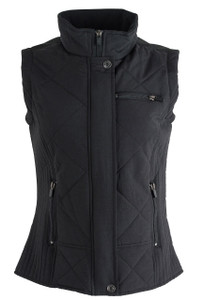 Cripple Creek Black Quilted Zip Vest - Front