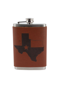 Gift - 8 OZ Texas State and Flag Flask - Front