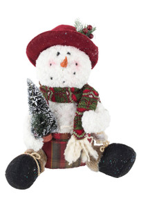 Sparkle Plaid Snowman Decor