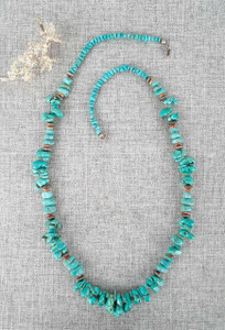 Turquoise and Spiny Oyster Nugget Necklace