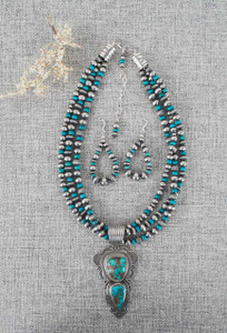 Dragonfly Turquoise 2-Stone Pendant Necklace and Earring Set