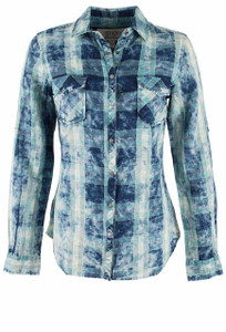 Ryan Michael Indigo Boxed Plaid Snap Shirt - Front