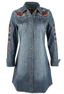 Stetson Denim Shirt Dress with Floral Embroidery - Front