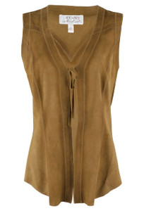Ryan Michael Tie Front Leather Vest - Front