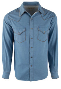 Ryan Michael Distressed Waffle Western Snap Shirt - Denim - Front