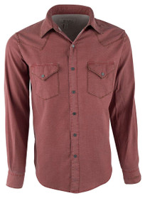 Ryan Michael Distressed Waffle Western Snap Shirt - Bandana Red - Front