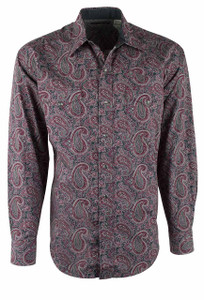 Stetson Wine Jettison Paisley Snap Shirt - Front