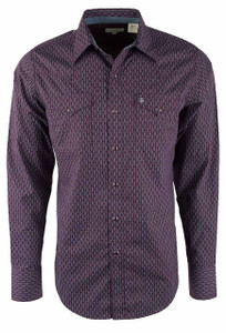 Stetson Wine Abacus Geo Print Snap Shirt - Front
