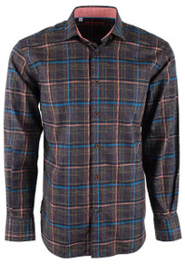 Pinto Ranch Brown and Terracotta Plaid Shirt - Front