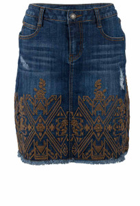 Stetson Denim Raw Edge Hem Embroidered Skirt - Front