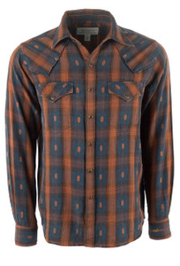 Ryan Michael Ombre Dobby Plaid Snap Shirt - Espresso - Front