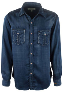 Ryan Michael Tencel Snap Shirt - Indigo - Front
