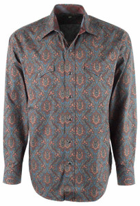 Stetson Gray Tapestry Paisley Snap Shirt - Front