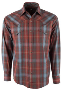 Stetson Blue, Rust and Coal Embers Plaid Snap Shirt - Front