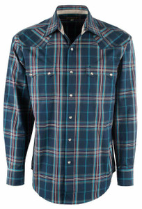 Stetson Blue Midnight Plaid Snap Shirt - Front