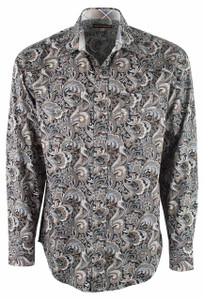 Stetson Black Tobacco Paisley Snap Shirt - Front