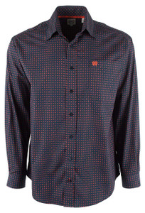 Cinch Navy Block Print Plain Weave Shirt - Front