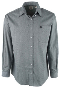 Cinch Teal and White Geo Dot Print Shirt - Front